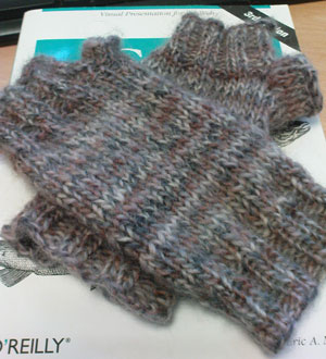 A pair of Ingratiate arm warmers, placed on a book